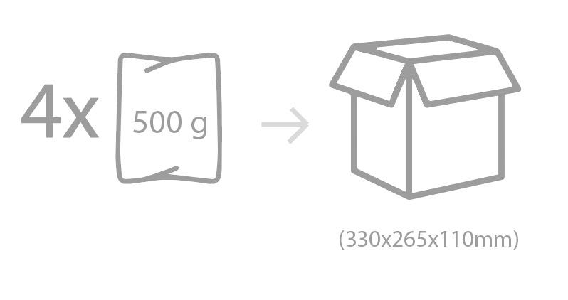 Envasado: Bolsa PEBD termosellada. Unidad de bolsa: 500g (16-18 uds.).