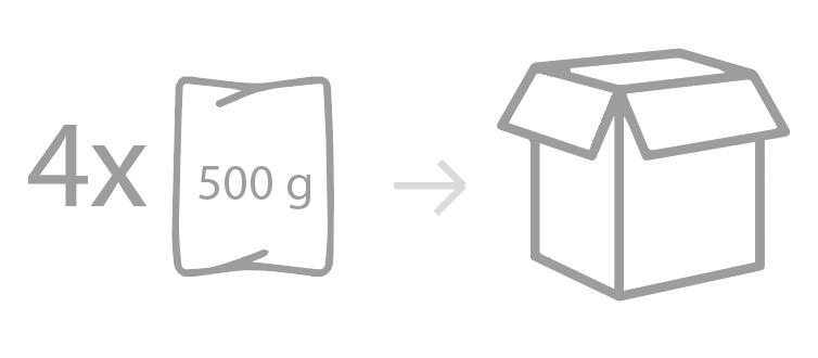 Envasado: Bolsa PEBD termosellada. Unidad de bolsa: 500g (16-18 uds.)