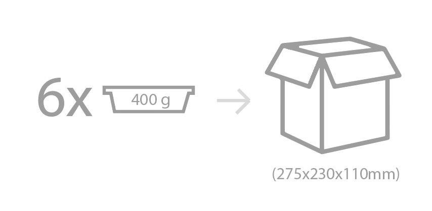 Envasado: Barqueta de polipropileno con cierre de film de PP-EVOH termosellado